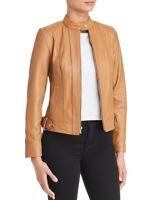 Cole Haan Womens Jacket Hazelnut Brown Genuine Lambskin Leather Zip Size Large