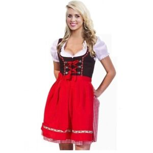 Red Dirndl Dress Costume Womens Traditional Oktoberfest Outfit