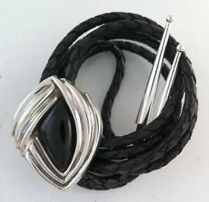 Uniquely Shaped Sterling Silver & Black Onyx Ribbed Southwestern Bolo Tie