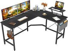 Cubiker Modern L-Shaped Computer Office Desk, Corner Gaming Desk with Monitor .