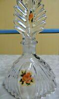 Antique Vintage Art Deco Cut Glass Crystal Perfume Bottle w/ Stopper