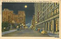 1943 Wilmington Delaware Market Rodney Night autos Del Mar postcard 7935