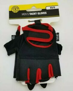 Golds Gym Mens Tacky Palm Extra Grip Stretch Mesh Workout Glove Red Black XS/S
