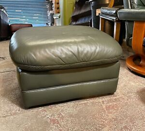 Green leather footstool pouffe footrest FREE UK DELIVERY