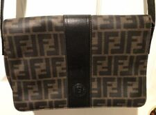 Fendi Black Leather and Brown Canvas Zucca Print Crossbody d0ee3a93e7