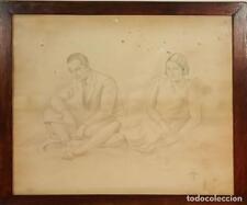 COUPLE SITTING. CHARCOAL DRAWING. SIGNED ANTONIO VILA ARRUFAT. XX CENTURY.