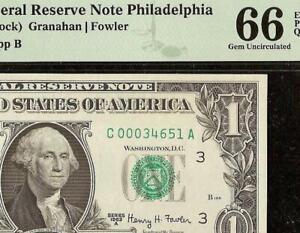 GEM 1963A $1 DOLLAR BILL FEDERAL RESERVE NOTE PAPER MONEY PMG UNC 66 EPQ