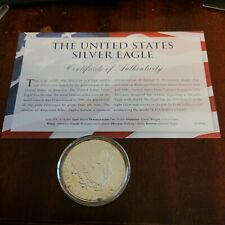 More details for usa united states 1987  1oz silver  unc  eagle coin in capsule coa toning edge $