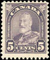 Mint NH Canada 1930 F+ 5c Scott #169 King George V Arch/Leaf Stamp
