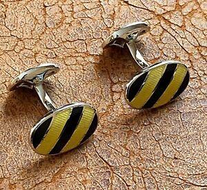 Cufflinks - Genuine RALPH LAUREN Silver Plated Black & Yellow Stripe - England