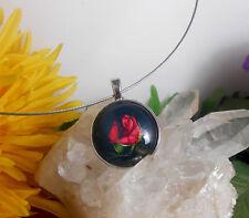 Edelstahl Halsreif mit Glas Cabochon Anhänger Amulett Motiv: Rose Rot Schwarz