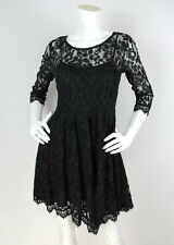 Free People Sz XS/S Dress Black Floral Mesh Lace 3/4 Sleeve Cocktail ASO Celebs