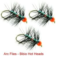 Trout Flies 33J Bibio Hotheads Hooks 6 8 10 12 14 16 18 By Arc Fishing Flies UK
