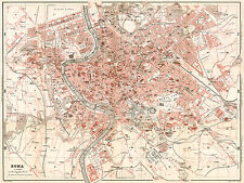 Rome, Roma Historical City Map from 1909 (Wagner&Debes) Vintage Print Poster