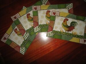 FRANCO ROOSTER & EGG GREEN RED YELLOW BLACK CHECKS (4) PLACEMATS 18X12 COUNTRY