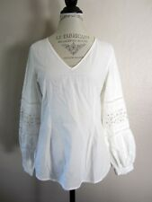 Anthropologie Maeve White Embroidered Cutout V Neck Shirt Blouse 4 NWT