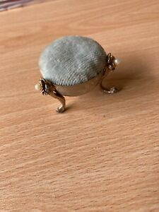 Antique Silver Metal Cauldron Style Pin Cushion/Ornate Legs with Pearls