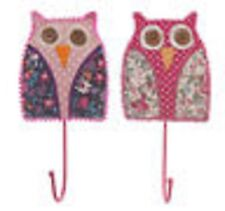 owl themed hook green blue pink fabric  coat hook accessory