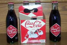 LE USA HOLIDAY 2012 4-PAK COCA-COLA DIAMOND LABEL 8oz GLASS BOTTLES w/CONTENTS