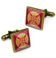 Antique Bronze Celtic Cross Stained Glass Irish Knot Design Cufflink Set w/ Box