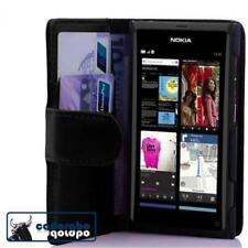 Para Nokia Lumia 800 libro bolso funda FLIP CASE funda protectora, estuche, protección cartera en NEGR