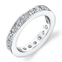 Sterling Silver CZ Eternity Round Channel Set Womens Anniversary Wedding Band
