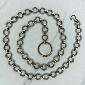 Silver Tone Skinny Open Circle Hoop Belly Body Chain Link Belt Size S Small