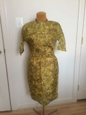 Vintage 50s 60s Olive Green Summer Wiggle Dress Made Men Style Size S/M