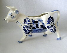 VINTAGE DELFT BLUE handpainted ceramic COW CREAMER Dutch windmill repaired #34