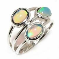 Ethiopian Fire Opal Natural Gemstone 925 Sterling Silver Ring Size 7 R-86