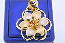Fancy 14k Two Tone Gold Flower Pendant, Made In Italy, 5gm