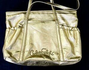 Signature CARLOS FALCHI Carryall Ladies Gold Shoulder Bag Purse Tote Shopper