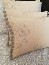 "12x16"" French vintage grey/beige faded grey roses flower  cushion cover pom pom"