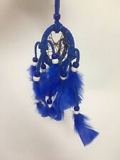"""SMALL DOUBLE Dreamcatcher 2"""" , Made in Mexico , Wall Decor , Handmade,ROYAL BLUE"""