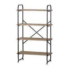 Industrial Style Brown Wood Grey Metal Storage Furniture Display Shelf Unit