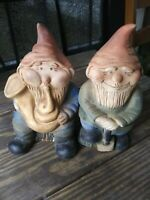 "2 Pottery Old Vintage Matte Finish Gnomes Playing Horn Holding Shovel 7"" High"