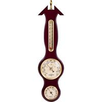 Banjo Barometer Weather Station Sheraton Wood Mount With Mahogany Finish New