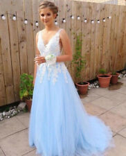 Light Blue A Line Prom Dress V-neck Formal Evening Party Gowns Bridesmaid Dress