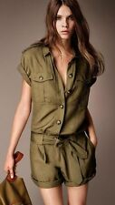 NEW $550 Burberry Brit Safari Style Olive Jumpsuit Playsuit Romper US 14 /ITA 48