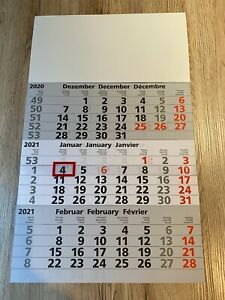 3 Monatskalender, Bürokalender, Wandkalender