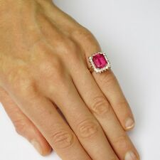 Art Deco Deep Pink Tourmaline Diamond Engagement Ring Emerald Cut Big 1940s Band