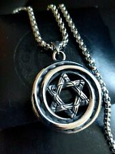 Mens Chunky Jewish Star Of David Vintage Silver Steel Necklace, Religious Gift
