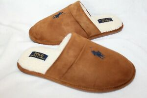 NIB Polo Ralph Lauren Men's Suede Clog Slide Slippers Chestnut Brown