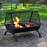 """Sunnydaze 36"""" Fire Pit Steel Northland Grill with Spark Screen and Vinyl Cover"""