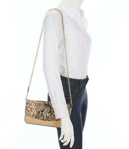 NWT Michael Kors Izzy Large Clutch Crossbody Convertible in Natural / Gold