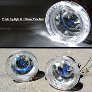 "For C230 3"" Round Super White Halo Bumper Driving Fog Light Lamp Compl Kit"