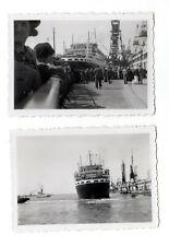 2 Photos - Départ du CHAMPLAIN du Havre (76) en 1935 - Navire Bateau Paquebot -