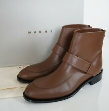 $1060 NIB Authentic MARNI Brown Leather ANKLE CHELSEA Boots Shoes EUR-39 US-9