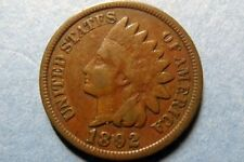 1892  Vintage INDIAN HEAD BRONZE CENT Circulated Philadelphia Mint Nice Details