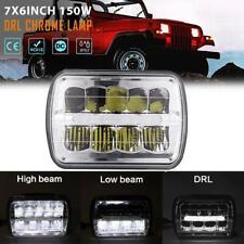 "7x6"" 5x7"" inch 150W LED Headlight DRL Hi-Lo Chrome Lamp for Jeep Cherokee XJ YJ"